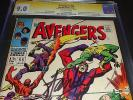 L K AVENGERS 55 CGC 9.0 SS SIGNATURE 1ST/FIRST ULTRON SIGNED BY STAN LEE 2 1968