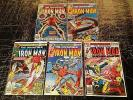 Lot Of 5 Iron Man Marvel Comic Books # 117 118 119 121 122 Bronze Age Series C5
